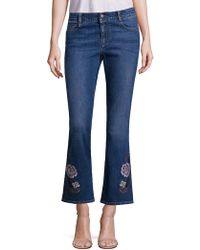 Stella McCartney - Skinny Kick Flare Jeans Withfloral Embroidery - Lyst