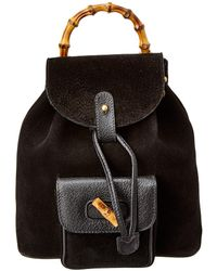 Gucci - Limited Edition Black Suede Bamboo Backpack - Lyst