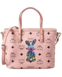 MCM Rabbit Visetos Top Zip Shopper Tote