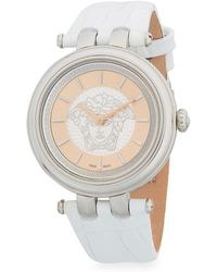 Versace - Elegant Stainless Steel And Leather-strap Watch - Lyst