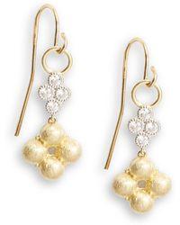 Jude Frances - Diamond, 18k Yellow Gold & Sterling Silver Clover Drop Earrings - Lyst