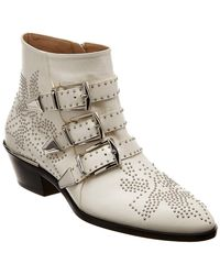 Chloé - Women's Susan Pointed Toe Studded Leather Booties - Lyst