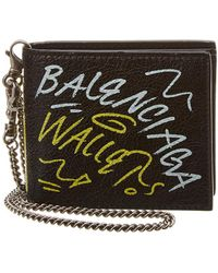 Balenciaga - Graffiti Leather Chain Wallet - Lyst