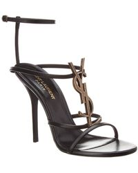 bd5bf33764bf Saint Laurent - Cassandra Leather Ankle Strap Sandal - Lyst