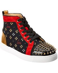 Christian Louboutin - Lou Spikes Leather & Suede High-top Sneaker - Lyst
