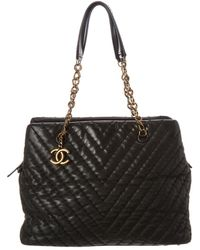 Chanel Black Calfskin Leather Large Cc Charm Tote