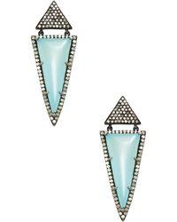 Karma Jewels - 14k White Gold & Sterling Silver Chalcedony & Diamond Earrings - Lyst
