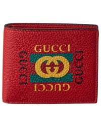 28e7b6f9a2ea Lyst - Gucci Logo Print Leather Bifold Wallet in Black for Men
