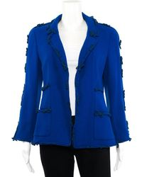 Chanel - Blue Wool-blend Bow Embellished Blazer, Size Fr 40 - Lyst