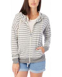 Alternative Apparel - Cool Down Striped Eco-jersey Zip Hoodie - Lyst