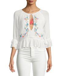 Raga - Ashlyn Floral Cut-out Cotton Blouse - Lyst