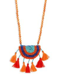 Panacea - Beaded Tassel Pendant Necklace - Lyst