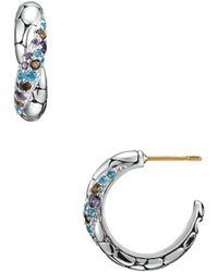 John Hardy - Kali Arus Swiss Blue Topaz, Smoky Quartz, & Iolite Hoop Earrings - Lyst