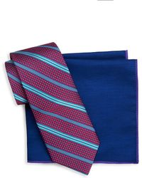 Ted Baker - Two-piece Stripe Silk Tie And Pocket Square Set - Lyst
