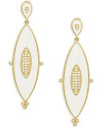 Freida Rothman - Crystal & Enamel Marquise Drop Earrings - Lyst