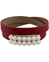 Majorica - New Isla 6mm White Pearl & Leather Bracelet - Lyst