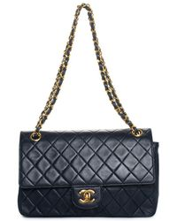 Chanel - Navy Quilted Lambskin Leather Medium Classic Double Flap Bag - Lyst