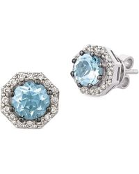 Le Vian - Diamond, Aquamarine & 14k White Gold Octagon Stud Earrings - Lyst