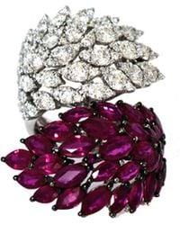 Arthur Marder Fine Jewelry - 18k 7.40 Ct. Tw. Diamond & Ruby Leaf Ring - Lyst