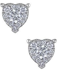 Rina Limor - 14k White Gold & 0.49 Total Ct. Diamond Heart Stud Earrings - Lyst