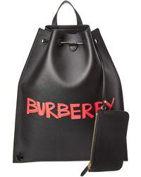 eecb520a361b Hot Burberry - Graffiti Print Leather Backpack - Lyst