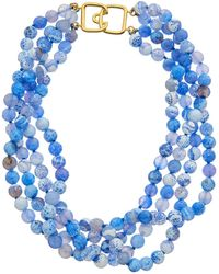 Kenneth Jay Lane 22k Electroplated Resin Necklace - Blue