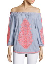 Christophe Sauvat - Cai Cai Embroidered Off-the-shoulder Top - Lyst
