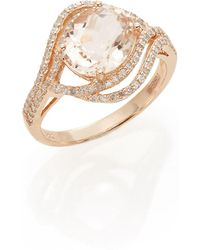 Effy - Oval Morganite, Diamond & 14k Rose Gold Ring - Lyst