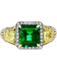 Diana M. Jewels - . Fine Jewellery 18k Two-tone 5.46 Ct. Tw. Diamond & Emerald Ring - Lyst