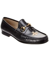 eb461e1b1 Gucci Princetown Bee Applique Leather Slipper in Black for Men - Lyst