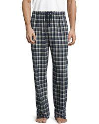 Ben Sherman Plaid Brushed Flannel Pyjama Pant - Blue