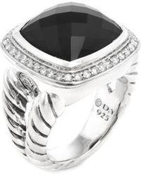 David Yurman - David Yurman Silver 14.35 Ct. Tw. Diamond & Onyx Ring - Lyst