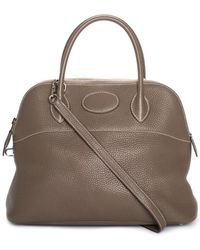 9292fb82dff Hermès - Taupe Clemence Leather Bolide 31 Satchel - Lyst