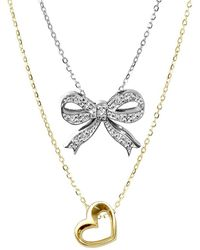 Alex Woo - Sterling Silver Double Pendant Diamond Necklace - Lyst