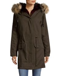 Annabelle New York - Hooded Cotton Fox Fur Parka With Vest Insert - Lyst