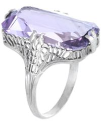 Estate Fine Jewelry - Art Deco Amethyst Filigree Ring - Lyst