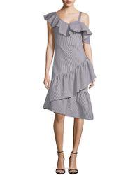 Lea & Viola - One Shoulder Stripe Ruffle Dress - Lyst