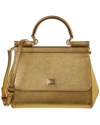 d6aeca8f7163 Dolce   Gabbana - Mini Sicily Leather Satchel - Lyst
