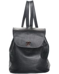 Chanel - Black Caviar Leather Cc Backpack - Lyst