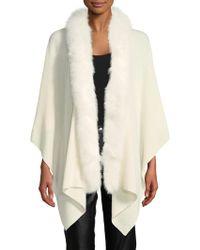 Sofia Cashmere - Fox Fur-trimmed Wrap Shawl - Lyst