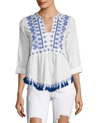 Kas - England Cotton Embroidered Blouse - Lyst
