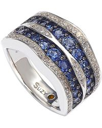Suzy Levian - Silver 4.35 Ct. Tw. Diamond & Sapphire Ring - Lyst