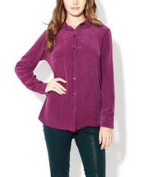 Zoe & Sam - Silk Pigment Dyed One Pocket Shirt - Lyst