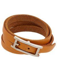Hermès - Brown Palladium Double Tour Bracelet - Lyst