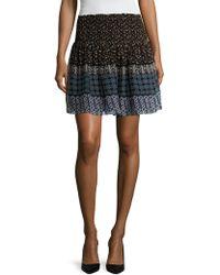 Shoshanna - Silk Printed Flared Skirt - Lyst