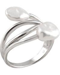 Splendid - Silver 7-8mm Keshi Pearl Ring - Lyst