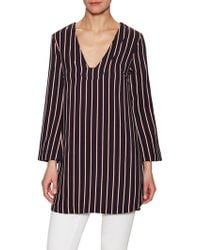 Lush - Striped V-neck Blouse - Lyst
