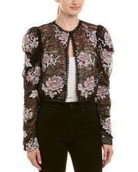 Anna Sui Cross Stitch Rose Embroidered Lace Jacket