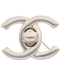 Chanel - Silver-tone Medium Cc Turnlock Pin - Lyst