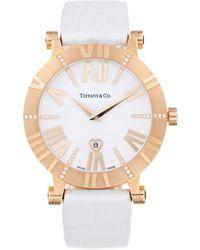 Tiffany & Co. - Rose Gold, Diamond, & White Alligator Leather Watch, 36mm - Lyst